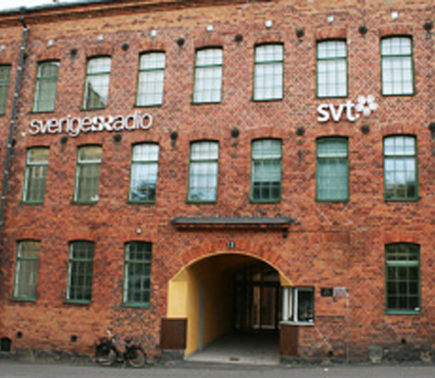 Huvudentrén för SVT och Sveriges Radio